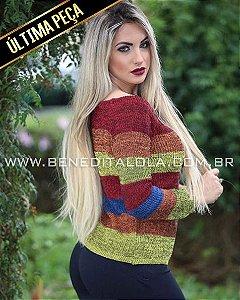 Blusa Tricot Ciganinha Colorida Inverno 2019 -CE