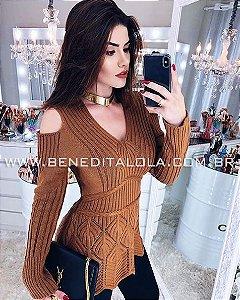 Blusa Feminina Bata com Ombros de Fora Inverno 2019 - KY
