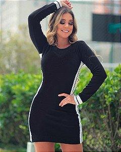Vestido Tricot Modal 3 Listras Inverno 2020 -MDL