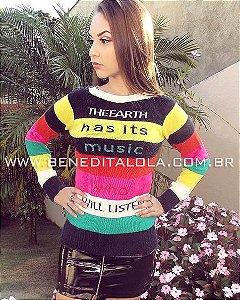 Blusa Feminina Tricot Music Com Pelinhos Inverno 2019 -TA