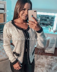 Casaco Tricot Mousse com Pelinhos Inverno 2019 -KP