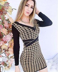 Vestido Tricot Pied Poule (Modal)  -MDL