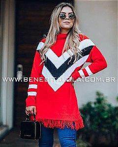 Poncho Tricot Tricolor Franjas Inverno 2019