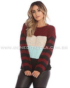 Blusa Tricot Feminina Listras Leblenc Inverno 2019 -VR