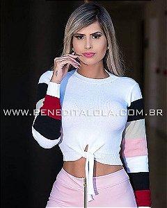 0ee6b44875 Cropped Tricot Amarrar Oncinha Neon Inverno 2019 - Benedita Lola ...