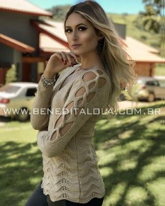 Blusa Tricot Feminina Mousse Trama Inverno 2019 -BD
