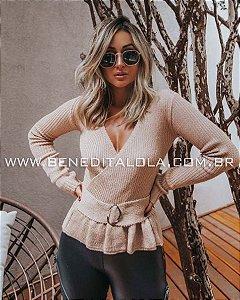 Blusa Feminina Tricot com Cinto Inverno 2019- VR