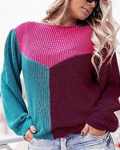 Blusa Tricot Princesa Tricolor Inverno 2020- CO