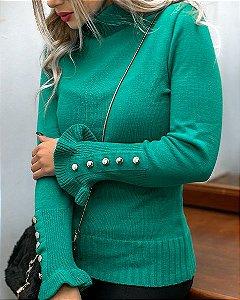 Blusa Tricot Modal com Botões Inverno 2020- JN