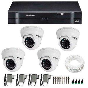 Kit CFTV 04 Câmeras Dome Infra HD 720p Intelbras VMD 1010G3 + DVR Intelbras Multi HD + Acessórios
