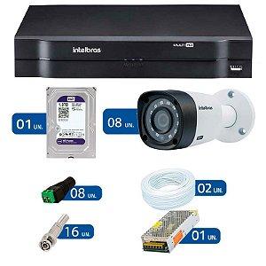 Kit CFTV 8 Câmeras Infra 720p Intelbras VHD 1010B G3 + DVR Intelbras Multi HD + HD WD Purple + Acessórios