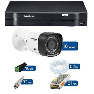 Kit CFTV 16 Câmeras Infra 720p Intelbras VHD 1010B G3 + DVR Intelbras Multi HD + Acessórios