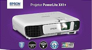 Projetor Epson Powerlite X41+ / XGA / 3600 Lumens / USB / Hdmi / VGA / Wifi / 3 Anos Garantia / Maleta