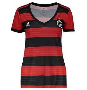 Camisa Flamengo I 2018 s/n° Torcedor Adidas Feminina - Vermelho e Preto
