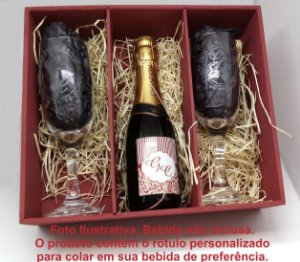 Caixa Convite de Padrinhos com Taça de Champanhe