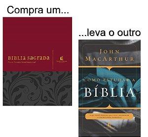 Kit: Bíblia NVI com espaço para anotações (vermelha) + Livro como estudar a Bíblia
