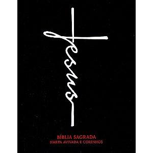 BÍBLIA CAPA DURA PEQUENA - JESUS PRETA - COM HARPA AVIVADA E CORINHOS