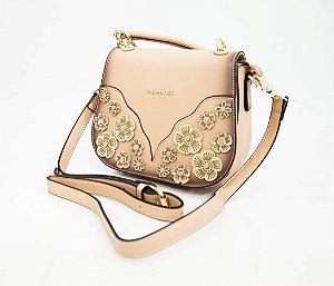 Bolsa de ombro Off White com detalhes de flores - V&V finder