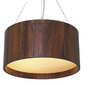 Lustre pendente redondo em madeira e acrílico 50x25cm de diâmetro accord ref 202