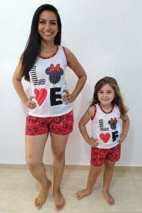 Pijama Mãe e Filha Love shorts com regata