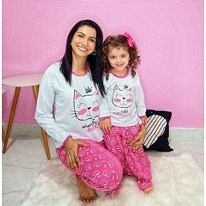 Pijama Mãe e Filha Gatinha com calça e blusa com manga cumprida