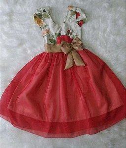 Vestido de Festa jardim vermelho