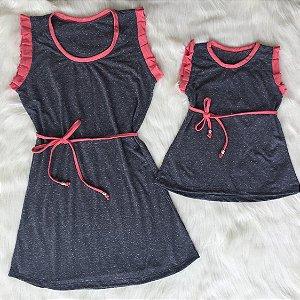 Tal mãe, Tal filha ou filho vestido cinza com rosa