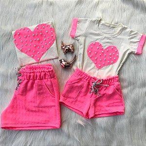 Tal mãe Tal filha conjunto coração rosa