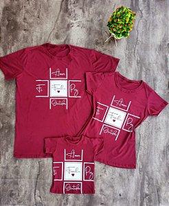 Kit Família Camisetas Vinho