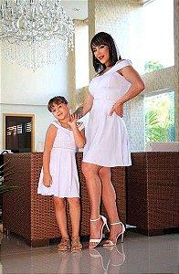 Vestido Tal mãe,Tal filha princesa Branco com pérola