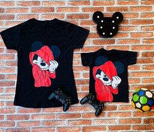Tal Mãe, tal filho t-shirts Mickey Preta