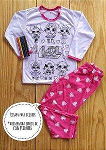 Pijama infantil colorir com calça