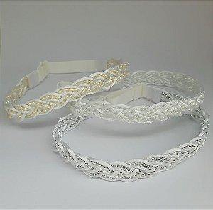 Headband com pérolas e cordão cetim