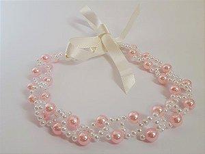 Headband em pérolas rosa infantil