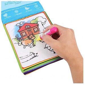 Livro de tecido para bebê caneta mágica fazendinha
