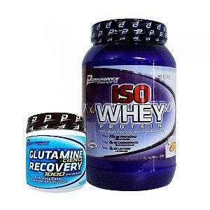 Iso Whey 2lb (909g) - Performance Nutrition + Glutamine Recovery 1000 Powder (300g) - Performance Nutrition