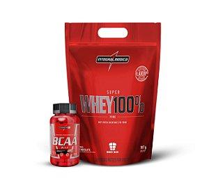 KIT Super Whey 100% Pure (907g) - Integralmédica + AMINO BCAA 2:1:1 (90 Cápsulas) - Integralmédica