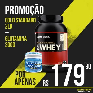 100% Whey Gold Standard 2lb (909g) - Optimum Nutrition + Glutamina Recovery Performance