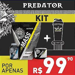 Kit Predator - Mass + BCAA 2:1:1 60 Caps + Creatina Monohidratada 150 g + Coqueteleira Brothers Nutrition