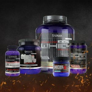 COMBO Ultimate Nutrition - Whey Prostar (5lb) + Glutamina (1kg) + Creatina (300g) + Horse Power + BCAA 12000 (225g) + Galão (Brinde)