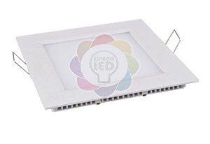 Plafon LED 12w Embutir Quadrado Branco Quente