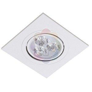 Spot Led 3w Direcionável Base Branca Quadrado SMD Branco Quente