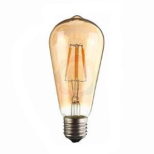 Lâmpada Vintage Retrô Filamento LED 4w Luz Âmbar