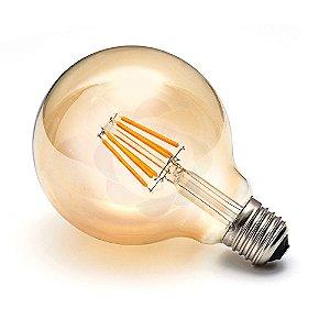 Lâmpada Vintage Retrô G95 Filamento LED 4w Luz Âmbar