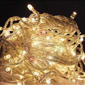 Luzinha de Natal Pisca Pisca 9,7m com 100 Leds Branco Quente 220v