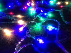 Luzinha de Natal Pisca Pisca 9,7m com 100 Leds Colorido RGB 220v