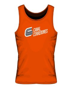 Camiseta Regata Masculina Laranja Canal Corredores