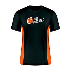 Camiseta Masculina Preta e Laranja Canal Corredores