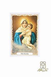 Santinho com oração Mãe Rainha - Pacote c/100