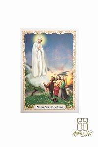 Santinho com oração Nossa Senhora de Fátima - Pacote c/100